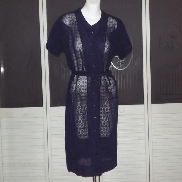 Vintage 50s 60s Plus Size Lace Secretary Dress